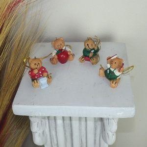 4x AVON Red/Green Bear Christmas Ornaments